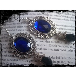 Goth Antique Silver Earrings Blue Stones