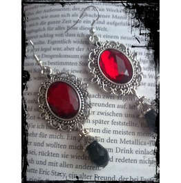 Goth Antique Silver Red Stone