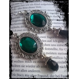 Goth Antique Silver Green Faceted Stones.