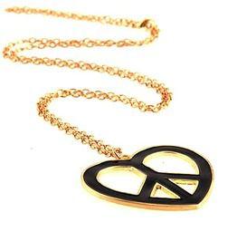 Love Gold Colour Metal With Black Enamel Big Cnd Heart Peace Pendant