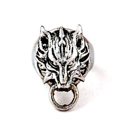 Striking Sliver Metal Wolf Head With Ring Design Ring