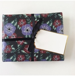 Dark Floral Wrapping Paper Sheets
