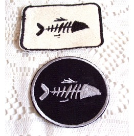 Embroidered Set Of 2 Fish Skeleton Patch Iron/Sew On Fish Skeleton Badge
