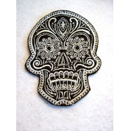 Embroidered Ornate Fancy Skull Patch Iron / Sew On Day Of The Dead Skull