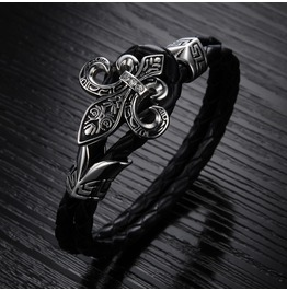Men's Black Leather Stainless Steel Bracelet