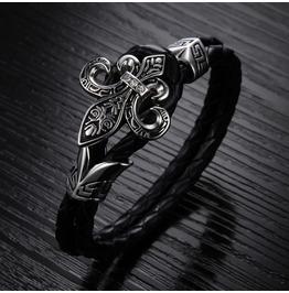 Men's Black Leather Stainless Steel Bracelet