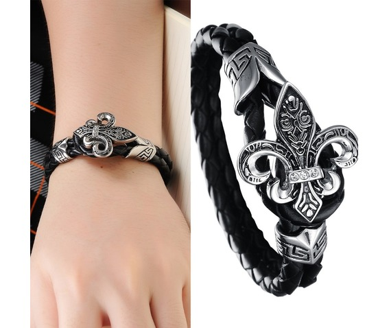 woven_black_leather_stainless_steel_fleur_de_lis_gothic_bracelet_wristwear_bracelets_6.jpg