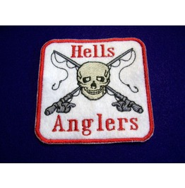 Embroidered Hells Anglers Fishing Skull Patch Iron/Sew On Motorcycle Patch