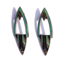 Vintage Elegance 1920 Art Deco Design Enamel Green Black And Gold Earrings