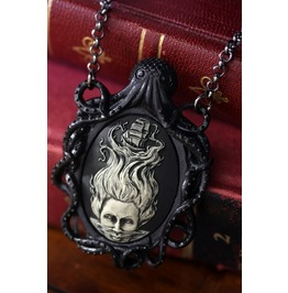 Cameo Necklace With Black Octopus And Lady Of The Sea