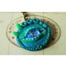 Green Dragon Eye Pendant With 24 Ct Gold Flecks & Glow In The Dark Elements