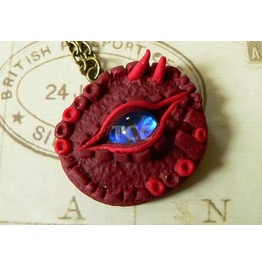 Red Dragon Eye Pendant With 24 Ct Gold Flecks
