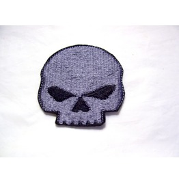 Embroidered Pewter Grey Skull Patch Badge Sew/Iron On