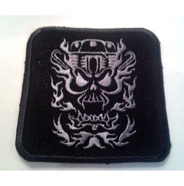 Embroidered Motorcycle Engine Skull Patch Badge Iron / Sew On
