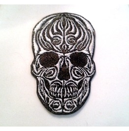 Embroidered Tribal Skull Leather Patch