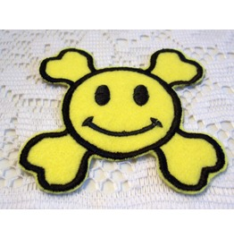 Embroidered Smiley Face Happy Face Skull And Crossbones Iron/Sew On Patch