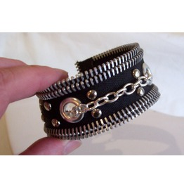 Handmade Black And Silver Zipper Bracelet With Studs Grommets Chain