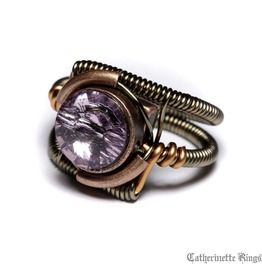 Steampunk Jewelry Ring Light Amethyst Copper Brass