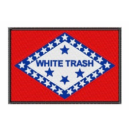 Embroidered White Trash Flag Iron/Sew On Patch Badge