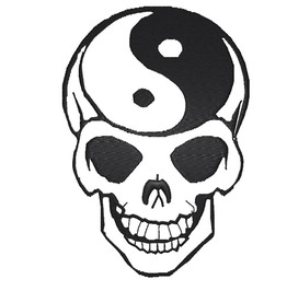Embroidered Yin Yang Skull Patch Badge Iron / Sew On