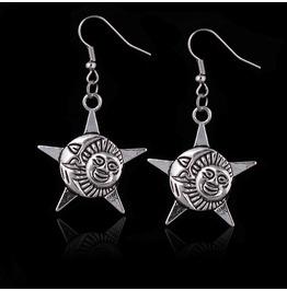Star Moon And Sun Tibetan Silver Earrings
