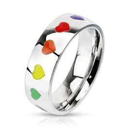 Stainless Steel Rainbow Hearts Dome Band Ring Gay Pride