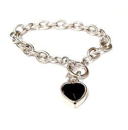 Valentine Dark Black Heart Gem On Silver Metal Chain Bracelet