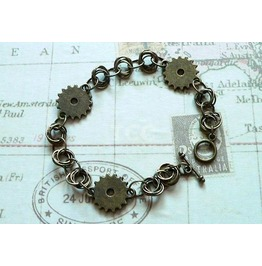 Steampunk Chain Mail Bracelet With Bronze Cogs