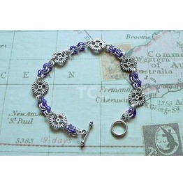 Steampunk Chain Mail Bracelet With Silver Plated Cogs & Blue Links