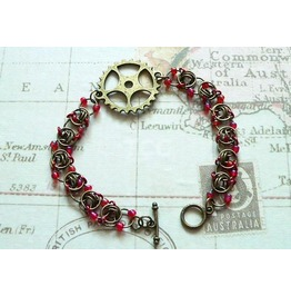 Steampunk Chain Mail Bracelet With Bronze Cogs & Red Beads