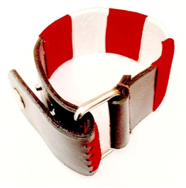 Awesome Scarlet Red And White Bound Chord On Black Leather Wristband