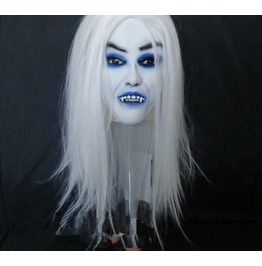 Halloween Super Scary Masks High Grade White Hair And Blue Eyes