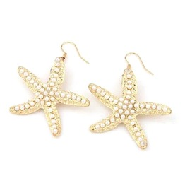 Gorgeous Starfish Pearl Design Gold Colour Metal Earrings