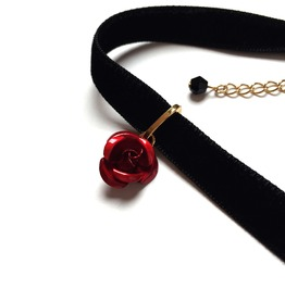 Metal Rose Velvet Choker Red