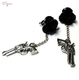 Gun Metal Black Rose Stud Earrings