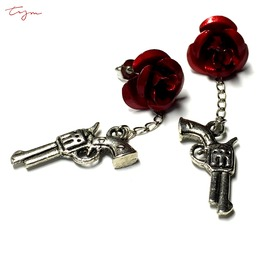 Gun Metal Red Rose Stud Earrings