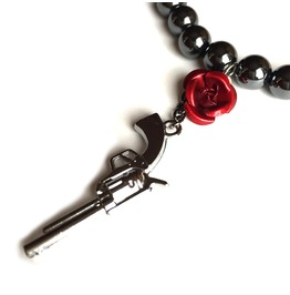 Gun Metal Red Rose Hematite Gemstone Bracelet