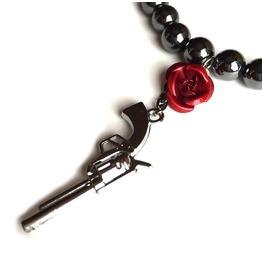 Gun Metal Red Rose Hematite Gemstone Bracelet