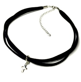 Cross Triple Cord Choker | Black