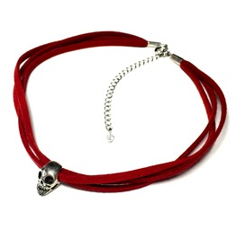 Skull Triple Cord Choker | Red