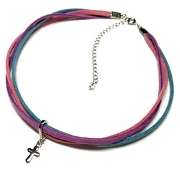 Cross Triple Cord Choker Pop Tri Color