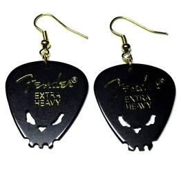 Hand Carving Skull Fender Guitar Pick Earrings | Black