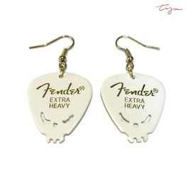 Hand Carving Skull Fender Guitar Pick Earrings | White