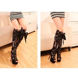 Wholesale sexy gladiator sandal boots super high heel hollow out heels 6