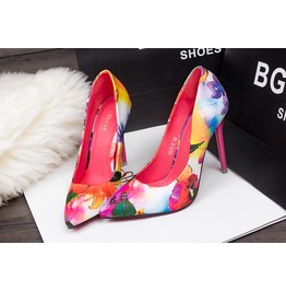 Floral Printed Women Fashion High Heels Shoes