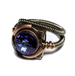 Steampunk Jewelry Ring Bermuda Blue Crystal Copper