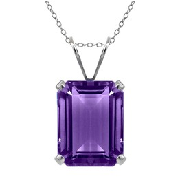 Gothic Rectangular Shape Amethyst Purple Colour Gem Pendant