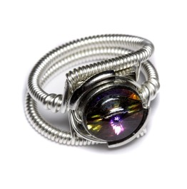 Cyberpunk Jewelry Ring Volcano Crystal