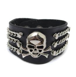 Punk Metal Skull Black Leather Bracelet Wristband Men Jewelry