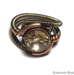 Steampunk Jewelry Ring Colorado Topaz Crystal Copper